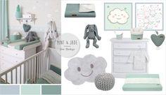 Babyzimmer mit Wolken in grau, mint & jade