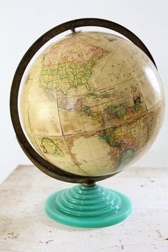 1930s Globe // Rand McNally Globe with Green Glass Base by 86home, $550.00