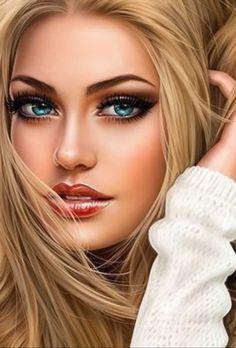 Most Beautiful Faces, Beautiful Eyes, Beautiful Women, Digital Art Girl, Digital Portrait, Girl Face, Woman Face, Evvi Art, Beautiful Girl Drawing