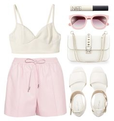 """spring fling."" by goldiloxx ❤ liked on Polyvore featuring Givenchy, Valentino, Wildfox, NARS Cosmetics, Spring, Pink, Leather and sunglasses"