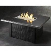 Outdoor Great Room Napa Valley Fire Pit Table Black with Wicker Base