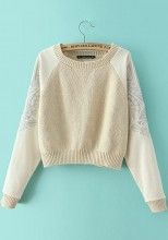 Beige Plain Embroidery Long Sleeve Sweater
