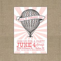 PRINTABLE Vintage Hot Air Balloon birthday party by chachkedesigns, $10.00