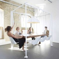 Playful Swingset Furnishings - This Swing Dining Table Ensures Your Guests Will Be Entertained (GALLERY)