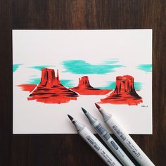 Monument Valley explored in 8 minutes.  Always testing out new mediums. It helps make art exciting and fun. First time using these markers. Can't wait to try them more.  #CopicArt #MonumentValley