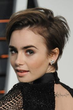 Lily Collins short hair close-up