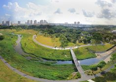 The Kallang River Bishan Park in Singapore by landscape designers Atelier Dreiseitl. A channel winds through the center of the park, replacing a concrete-sided canal, and features bio-engineered edges created with a variety of different plants.
