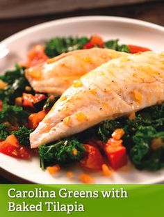 Carolina Greens with Baked Tilapia {leanest}  http://gogirlgethealthy.tsfl.com/?page=recipe-detail&type=3&AID=1246