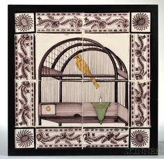 Framed Manganese Dutch Delft Tile Plaque.   Sold for $369   Auction 2918T   Lot 1050