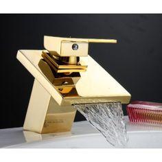 "15.5"" Single Handle Waterfall Gold Bathroom Faucet"