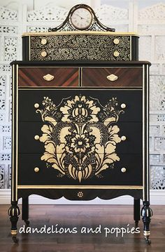 I would love to see this gorgeous dark chest by Dandelions and Poppies against a rough concrete wall so that the intricate painted details really stand out.