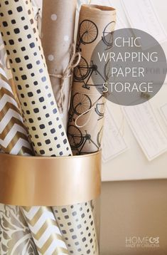 Store your wrapping paper so that it becomes part of your decor!