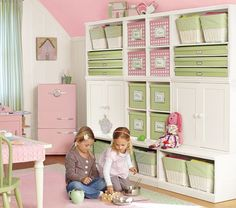 I would love to build a built in like this to organize and hide the mess Ariel can create :)