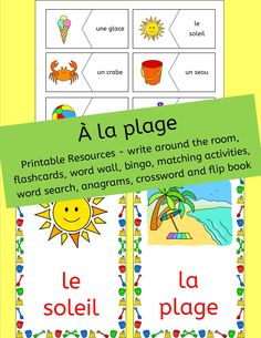 french summer beach vacation resources a la plage activities puzzles bingo summer. Black Bedroom Furniture Sets. Home Design Ideas