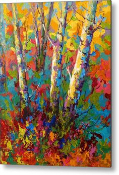 Trees Metal Print featuring the painting Abstract Autumn II by Marion Rose