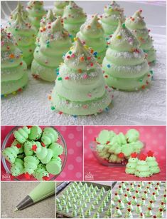 DIY Christmas Tree Meringues Cookies Christmas Tree Meringues Cookies are one of those desserts on the holiday table. These meringue cookies are a fun spin on a traditional cookies. Christmas Tree Meringues Recipe, Christmas Tree Cookies, Christmas Snacks, Xmas Food, Christmas Cooking, Christmas Goodies, Holiday Cookies, Holiday Desserts, Holiday Baking