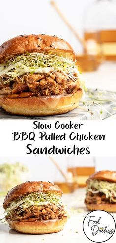 This Slow Cooker BBQ Pulled Chicken Sandwich is sweet, warm, and smokey! Featuring a homemade honey bourbon bbq sauce that is out of this world! Pulled Chicken Sandwiches, Bbq Chicken Sandwich, Bbq Sandwich, Sandwich Recipes, Meat Recipes, Slow Cooker Recipes, Chicken Recipes, Cooking Recipes, Dinner Recipes