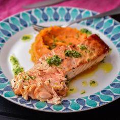 Somon, piure de cartofi dulci si sos gremolata Lucky Cake, Pasta, Quiche, Risotto, Seafood, Chicken, Meat, Breakfast, Ethnic Recipes