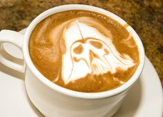 Latte Art Geeked Out with great latte remakes with Darth Vader, Boba Fett, Batman and a few more. Café Latte, Coffee Latte Art, Coffee Love, Coffee Break, Coffee Coffee, Drink Coffee, Coffee Shops, Morning Coffee, Geeks