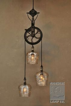 Crown Royal bottles and pulley light