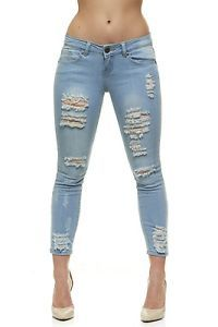 03c35d3864361d VIP Ripped Distressed Skinny Slim Fit Jeans For Women Jr or Plus Size, 4  colors