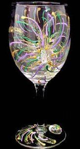 Mardi Gras Fireworks Design Hand Painted Grande Wine Glass by Bellissimo. $34.95. For generations of pleasure and enjoyment, hand washing is recommended for all Bellissimo! merchandise.. Every product is thoroughly inspected to meet our strict quality control criteria, and then fired twice to insure durability.. Bellissimo! is the manufacturer of America's Premier Hand Painted Glassware.. Highly collectible, each piece of Bellissimo! is individually signed by the artist.. ...