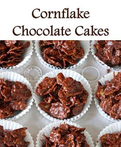 Chocolate Cornflake Cakes Recipe - My childhood favourite, with a grown-up, healthier twist to include protein, fiber and healthy fats! Chocolate Cornflake Recipes, Chocolate Crispy Cakes, Chocolate Recipes, Cornflakes Chocolate, Chocolate Crispies, Cookie Recipes, Dessert Recipes, Chicken And Shrimp Recipes, Brunch