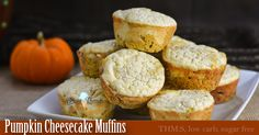 These Pumpkin Cheesecake Muffins are THM:S, low carb, sugar free, and gluten/nut free! Pumpkin muffins with a thin layer of cheesecake on top