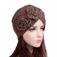 321d3513daa Floral crossed knitted hats winter warm hat ladies turban hat solid color soft  knitted wool beanie