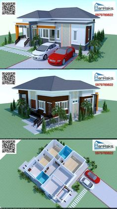 Elegant one storey house concept with 3 bedrooms and total floor area of 122 square meters. 4 Bedroom House Plans, New House Plans, Modern House Plans, House Floor Plans, Simple House Design, My Home Design, House Construction Plan, One Storey House, Pool House Designs