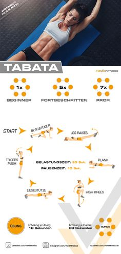 Tabata Workout - Hiit workouts at home - Fitness Workouts, Tabata Workouts, Insanity Workout, Best Cardio Workout, Sport Fitness, Yoga Fitness, At Home Workouts, Fitness Motivation, Health Fitness