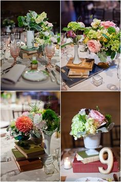 centerpieces stacked on old books! Love it!!!