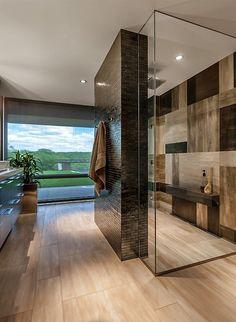 Contemporary Master Bathroom with Heavy Glass Enclosure, Hardwood floors, High ceiling, Flush, Master bathroom, Rain shower