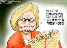 Hillary is very thankful for conservatives who stay home because of Trump.