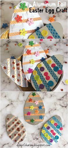 Aluminum Foil Easter Egg Craft #KidsCraft #EasterCrafts #Craftsforkids