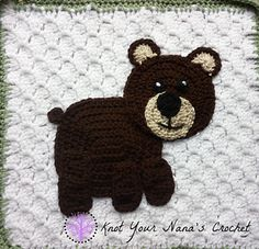 Crochet Granny Square Design Ravelry: Bear Applique pattern by Teri Heathcote - This is one of 12 appliques in the Woodlands Blanket set. Crochet Quilt, Crochet Bear, Cute Crochet, Crochet Motif, Crochet Crafts, Crochet Dolls, Crochet Projects, Crochet Applique Patterns Free, Granny Square Crochet Pattern