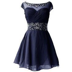 Dresstells Short Chiffon Elegant Simple Ruffled Pleated Beads Cocktail... ($97) ❤ liked on Polyvore featuring dresses, blue bridesmaid dresses, beaded dress, formal dresses, short prom dresses and chiffon dress