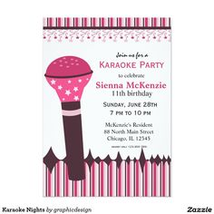 Sold #Karaoke Nights Card #music #birthday Available in different products. Check more at www.zazzle.com/graphicdesign