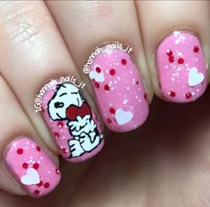 - Nailpolis: Museum of Nail Art Snoopy Valentine, Valentine Nail Art, Valentines, Snoopy Nails, Nail Arts, Peanuts, Hair And Nails, March, Museum
