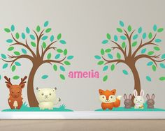 Forest Animal Custom Nursery Wall Decals 2 by LullaberryDecals Kids Room Wall Decals, Animal Wall Decals, Nursery Wall Decals, Custom Vinyl Wall Decals, Removable Wall Decals, Tree Decals, Babies Nursery, Forest Theme, Woodland Nursery