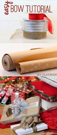 How to wrap the perfect present with a bow. Such an easy and inexpensive way to jazz up your presents and make them look amazing for the Christmas season. Such a great DIY idea and easy tutorial.