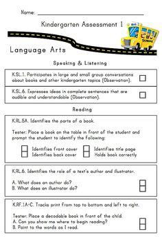 24 page, Illustrated KindergartenAssessment