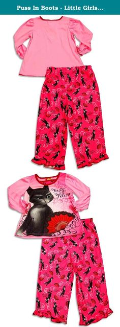 Puss In Boots - Little Girls' Long Sleeve Puss In Boots Pajamas, Pink 30334-4. Puss In Boots - Girls Long Sleeve Puss In Boots Pajamas, Pink, Ribbed Neck, Elastic Wrists With Ruffle Trim, Full Elastic Waistband Pant, Ruffle Trim Hem, Flame Resistant, 100% Polyester, Made In China, #30334 30-334.