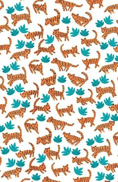 """dancing tigers in the jungle"" by Elena Mir www.elenamir.com #kids #pattern"