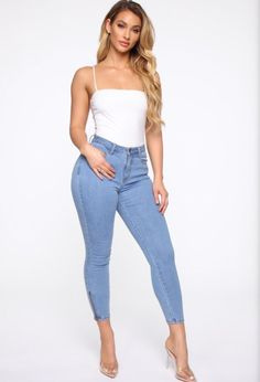 Available in Medium Blue Wash Rise - High RiseStretch DenimButton and Zipper Front Back PocketsAnkle Zipper Cotton SpandexImported Jean Outfits, Cute Outfits, Fashion Outfits, Womens Fashion, Jeans Fashion, Fashion Fashion, Venus Clothing, Lauren Wood, Turquoise Fashion