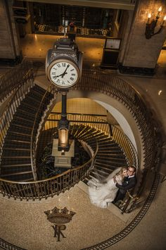 Olivia and Mitch in the hotel lobby of @The Fairmont Royal York Photography » Luminous Studio #fairmonthotels #wedding #photography
