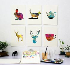 Minimalist Art Print Set - Choose any 6 Prints - Colorful Watercolor Poster Silhouette Art - 8x10 Print - Wall Decor, Kitchen Decor, Gifts