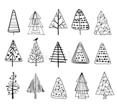 Set Of Doodle Christmas Trees. Stock Vector – Illustration of contemporary, abstract: 130288970 Set of Doodle Christmas Trees. Christmas Doodles, Christmas Drawing, Christmas Tag, Handmade Christmas, Christmas Trees, Christmas Decorations, Buch Design, Simple Doodles, Doodle Art