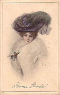 Pretty Christmas Lady postcard