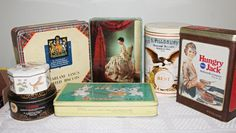 Lot of 7 Vintage Tins, Pillsbury,Puss n Boots,Hungry Jack,White Rabbit others